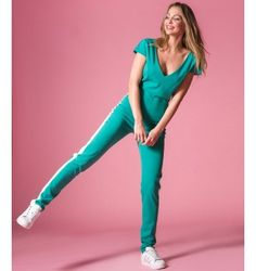 Ολόσωμη Φόρμα με Ρίγα στο πλάι - Σμαραγδί Jumpsuit, Pants, Dresses, Style, Fashion, Overalls, Trouser Pants, Vestidos, Swag