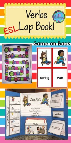 ESL Verbs: Help make your English Language Learner's transition into your classroom easier by learning verbs vocabulary! This resource can be used for making a lap book or as an interactive notebook! Great ESL Activities to help your children learn English!