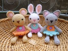 Amigurumi Pocket  Pets Crochet Pattern, Baby Mouse, Rabbit and Cat.. $4.00, via Etsy.