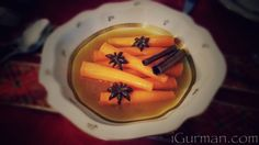 Carrots glazed with maple syrup and star anise