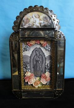 Old Fashion Style Our Lady of Guadalupe Reliquary Niche Nicho Mexican Folk Art