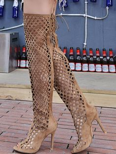 Brown Gladiator Sandals Suede Over The Knee Boots Peep Toe Cut Out High Heel Sandal Booties - Milanoo.com Womens Thigh High Boots, Womens High Heels, Summer Boots Outfit, Brown Gladiator Sandals, Peep Toe, Lace Up High Heels, Bootie Sandals, Fashion Over, Thigh Highs