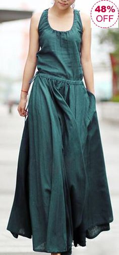 Casual Pure Color Irregular Drawstring Waist Sleeveless Dresses For Women Dresses For Teens, Trendy Dresses, Blue Dresses, Vintage Dresses, Casual Dresses, Sleeveless Dresses, Loose Dresses, Dress Long, Casual Outfits