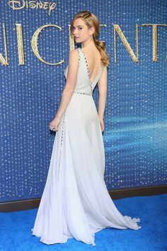 """Lily James """"Cinderella"""" Premiere ice Blue Gown: Channels Disney Princess In Glamorous Dress"""