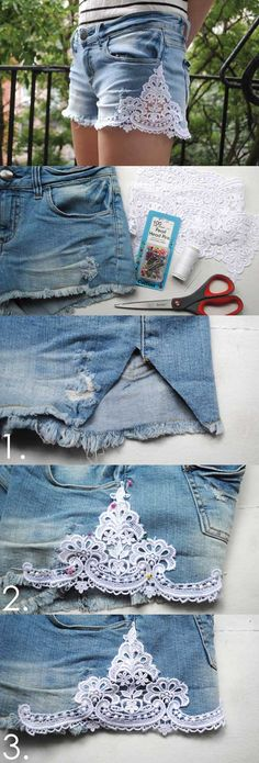 How to Make Lace Shorts: DIY Shorts Projects - Pretty Designs Diy Shorts, Diy Jeans, Diy Lace Jean Shorts, Sewing Shorts, Sewing Hacks, Sewing Crafts, Sewing Projects, Diy Crafts, Jean Crafts