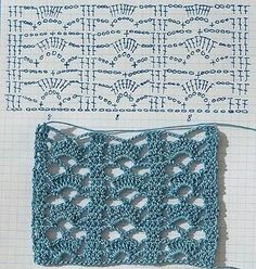 sample points and crochet edges page is in spanish you will need to translate nice tutorial nice stitch love it - PIPicStatsCrochet stitch by Anabelia - in Spanish and has a symbol chartCrochet stitch beautiful for scarfEasy stitch - reminds me of a Crochet Stitches Chart, Crochet Motifs, Crochet Diagram, Stitch Patterns, Knitting Patterns, Crochet Patterns, Crochet Ideas, Crochet Instructions, Love Crochet
