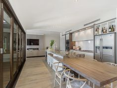 one wall kitchen with island and built in table