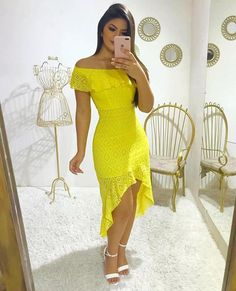 Best 12 Lindo look ✨ . Burgundy Dress, Yellow Dress, Casual Dresses, Prom Dresses, Summer Dresses For Women, Swing Dress, African Fashion, Fashion Outfits, Lens