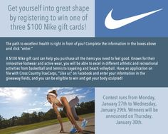 Win 1 of 3 $100 Nike gift cards.