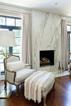 Modern Marble Bedroom Decoration Ideas to Steal Picture 17 A fireplace can be a structure produced w Bedroom Fireplace, Home Fireplace, Fireplace Remodel, Modern Fireplace, Fireplace Surrounds, Fireplace Design, Fireplace Outdoor, Marble Fireplace Surround, Country Fireplace
