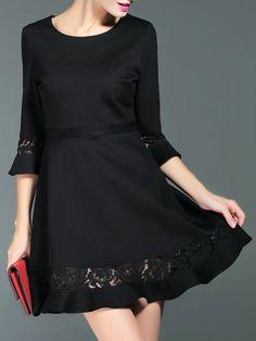 Vestido con detalle de encaje-Sheinside