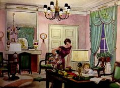 Pierre Brissaud ad for Chase Lighting, 1934. A handsome room in the then-recently-exhumed Empire style, given a new lease on life with pale colors & modern lighting.--MV.