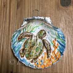 Sea turtle ornament Coastal christmas by KateMcRostieHandmade Seashell Painting, Seashell Art, Seashell Crafts, Pebble Painting, Beach Christmas, Coastal Christmas, Christmas Bulbs, Christmas Decorations, Xmas