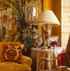 Alidad ~ The golden theme of the drawing room has been achieved by creating layers of colour, pattern and texture