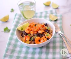 A taste of the tropics, loaded with juicy mango, pineapple, rice and black beans. Shrimp Rice Bowl Recipe, Shrimp And Rice, Tastefully Simple Recipes, Avocado Crema, Canned Black Beans, Plain Greek Yogurt, Rice Bowls, Home Recipes, 4 Ingredients