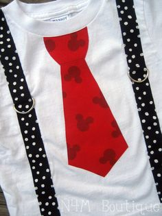 Red Mickey Mouse Tie with Black Dot Suspenders
