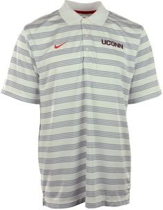Be sure to grab the Nike NCAA Preseason polo shirt, featuring Dri-FIT technology and professional golf styling. With contrast stripes and a raised Connecticut Huskies logo at the chest, you might get mistaken for an assistant coach. Polo collar Pullover style