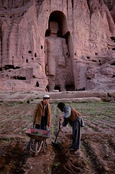 Central Asia | Buddha (one of two) of Bamiyan, Afghanistan. Built 554 A.D., dynamited and destroyed by the Taliban in 2001