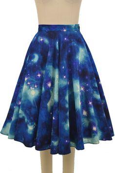 celestial circle skirt - blue galaxy print