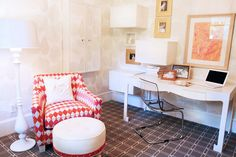 Great office--love the use of different patterns in this room.