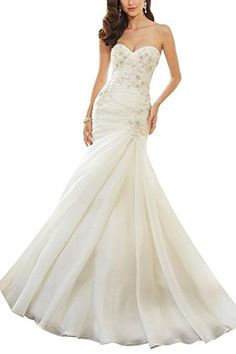 PrettyBridal Womens Long Mermaid Wedding Dresses Bridal Gowns 2016 White US16 *** Check this awesome product by going to the link at the image.