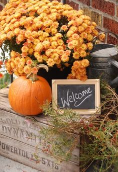 vintage crate mums autumn porch decor - KnickofTime.net Pumpkin Display, Autumn Display, Wooden Crates Christmas, Happy Fall Y'all, Thanksgiving Decorations, Outdoor Christmas Decorations, Thanksgiving Ideas, Garden Styles, Halloween Porch