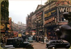 London Taken on Kodachrome by Chalmers Butterfield, circa 1949. Piccadilly Circus looking up Shaftsbury Ave.