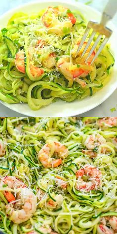 This One Pot Shrimp Scampi with Zucchini Noodles makes a tasty and healthy dinner. The shrimp are cooked in a buttery, lemon-garlic sauce and then combined with zoodles. dinner seafood Shrimp Scampi with Zucchini Noodles Zoodle Recipes, Shrimp Recipes, Pasta Recipes, Cooking Recipes, Keto Recipes, Clean Eating Snacks, Healthy Eating, Lemon Garlic Sauce, Garlic Butter