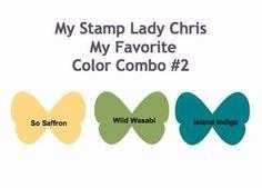 Stampin' Up Color Combo   So Saffron, Wild Wasabi & Island Indigo