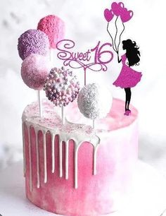 Topper Girl with balloons and the inscription Sweet 16 16th Birthday Cake For Girls, Barbie Birthday Cake, Creative Birthday Cakes, Sweet 16 Birthday Cake, Elegant Birthday Cakes, Beautiful Birthday Cakes, Teen Girl Cakes, Teenage Girl Cake, Sweet Sixteen Cakes