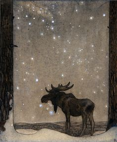 "NB: ""I like the mystic of this pic.""  John Bauer  (Swedish 1882–1918) Älgteckning (Elk drawing)"