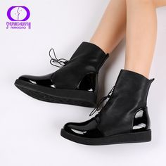3b5b40c71 AIMEIGAO Fashion Spring Autumn Women Boots Patent PU Leather Platform Woman  Shoes Plus Size Boots For Women Botas Mujer