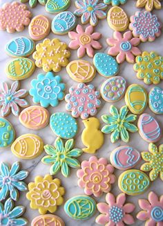 pretty decorated spring or easter cookies