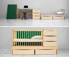This multifunctional furniture designed by Heiki Must and Pavel Sidorenko can be used from the newborn to the adolescent ,