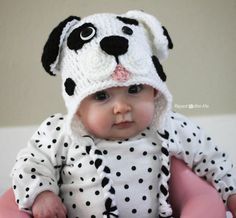 """I had the urge to create another puppy hat but wanted to try different """"mouth"""" design. And since I came across this black polka dotted shirt in a bag of hand-me-downs for my daughter, I just had to make a Dalmatian Dog to match The basic pattern is the same as my Puppy Hat Pattern …"""
