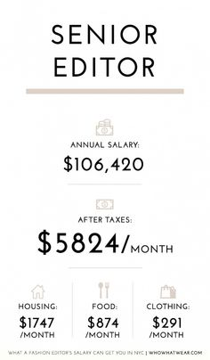 Here's the average annual salary of a senior editor working in fashion in NYC.