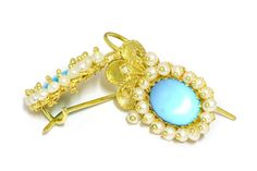 Gold filigree earrings with Turquoise and cultured micro-pearls loredanamandas.com