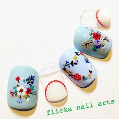 Embroidery flower nails
