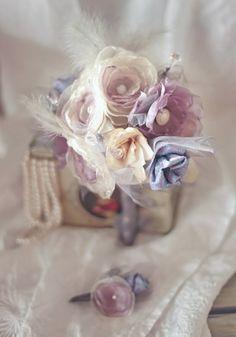 kangaskukista hääkimppu Forever BOUQUET - Cream & Lila