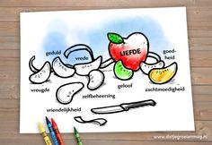 Kleurplaat 'Liefde: de vrucht van de Geest' (Galaten 5 : 22 & 23). Stuur een berichtje via onze website en ontvang kosteloos deze kleurplaat én de gelijknamige les.