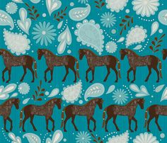 Cavalry Brown Horse Fabric - A Dance With Horses Aqua By Liluna - Paisley Retro Leaves Flowers Cotton Fabric By The Yard With Spoonflower Leaf Flowers, Fabric Flowers, Horse Wallpaper, Fabric Wallpaper, Horse Fabric, Aqua Fabric, Horse Pattern, Brown Horse, Textiles