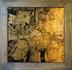 Ceas-tablou ,,Anotimpurile cuplului'', schlagmetal gravat, 40X40 cm, rama lemn patinat, mecanism ceas quartz.