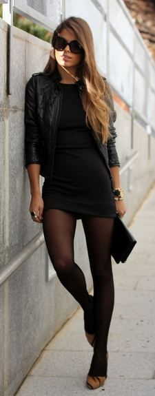 Street Fashion leather jacket LBD. This inspired my second look for night. Trade the printed pants for a LBD, slip on the jacket and go! #MintStylistGiveaway