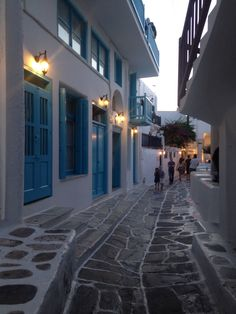 Streets of Mykonos at the evening