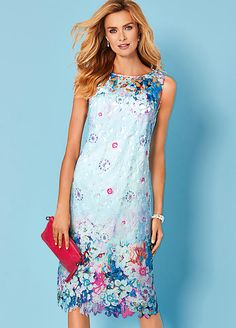 Pomodoro From Kaleidoscope Navy Floral Placement Dress Size 12 Summer Was £50
