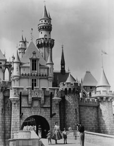 Sleeping Beautys castle, 1955 Thanks to a technique in which building elements are larger at the bottom and smaller at the top, Sleeping Beauty's castle was built to appear much taller than its 77-foot stature.