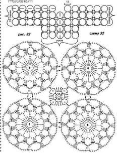 Crochet Motif Patterns, Sweater Knitting Patterns, Crochet Chart, Crochet Squares, Crochet Designs, Crochet Doilies, Crochet Lace, Crochet Stitches, Mode Crochet