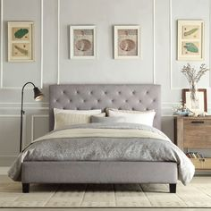Queen Size Gray Linen Upholstered Platform Bed With Button Tufted Headboard