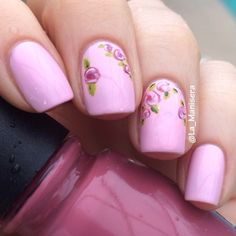 Rose accent nails. Butter London Teddy Girl base.
