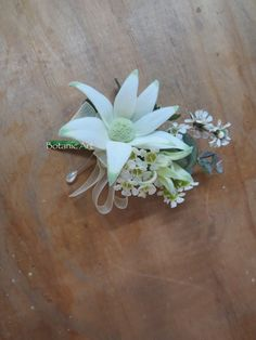 Ladies #corsage or grooms #button hole ( without the bow ) #native flowers, #flannel flower, wax flower, #blue gum & ti tree.